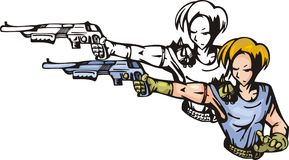 Anime fighters 4. Fighter with shotgun. Anime fighters Royalty Free Stock Images