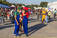 Anime Friends. Sao Paulo, Brazil, July 09, 2016. Traditional japanese pop culture festival, the Anime Friends event on Campo de Marte air base in Sao Paulo. This royalty free stock photography