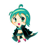 Anime girl. Cute anime chibi girl in space traveller coat Stock Photo