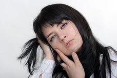 Anime girl. On white background stock photos