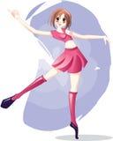 Anime Girl Ballet Dancing. Cute Anime Girl Ballet Dancing in pink dress stock illustration