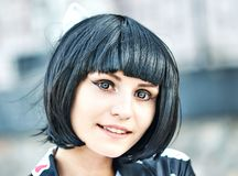 Anime girl with a black hair Stock Images