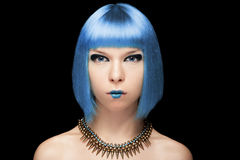 Anime girl with blue hair on black background Stock Images