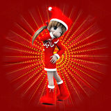 Anime girl in Christmas dress. Illustration of anime 3d happy girl in Christmas dress on red background Royalty Free Stock Images