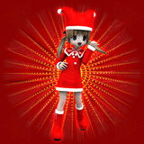Anime girl in Christmas dress. Illustration of anime 3d happy girl in Christmas dress on red background Stock Photography