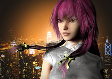 Anime Girl in Hong Kong. Anime style lady render with Hong Kong's Victoria Harbor as background Royalty Free Stock Photos