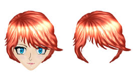 Anime girl with red hair Royalty Free Stock Photo