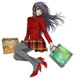 Anime girl shopping in christmas. Anime style happy girl shopping for christmas Royalty Free Stock Image