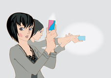 Anime girls shooting with banking cards Stock Image