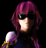 Anime Heroine. 3d render of a futurist heroine in Anime style Stock Image