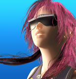 Anime Heroine. 3d render of a futurist heroine in Anime style Royalty Free Stock Image