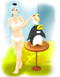 Anime lady and penguin Stock Photos