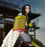 Anime Lady Samurai. Anime style lady samurai rushing for a mission Stock Photo