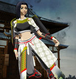 Anime Lady Samurai. Anime style lady samurai rushing for a mission Royalty Free Stock Image