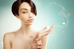 Anime looking japanese model for beauty advertisement, blue spar Stock Photo