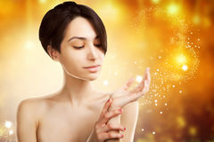 Anime looking japanese model for beauty advertisement, golden sp Royalty Free Stock Images