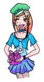 Anime manga cute cartoon girl with gift vector isolated Stock Photos