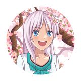 Anime manga girl. Laughing round icon cherry tree vector illustration graphic design vector illustration