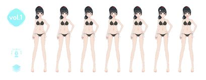 Anime manga girl. In a summer bikini swimsuit royalty free stock images