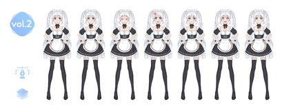 Anime manga girl. Costume of maid cafe stock photos