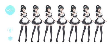 Anime manga girl. Costume of maid cafe royalty free stock image