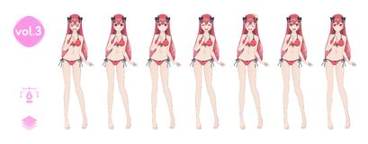 Anime manga girl. In a summer bikini swimsuit royalty free stock image