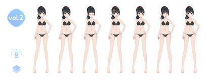 Anime manga girl. In a summer bikini swimsuit stock photo