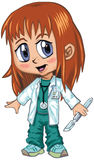Anime or Manga Style Red Haired Doctor Girl. A red-haired girl wearing doctors scrubs, drawn in an anime or manga style. She is in a paper doll pose, and has a vector illustration