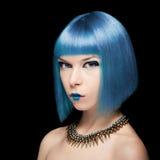 Anime model z błękitnym włosy Zdjęcie Stock