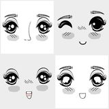 Anime nice woman faces expressions Stock Images