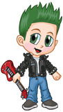 Anime Punk Rocker Boy Vector Cartoon. Vector cartoon clip art of a caucasian boy in a punk rocker costume, drawn in an anime or manga style. He is in a paper royalty free illustration