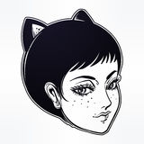 Anime or retro manga style woman with cat ears. Stock Photos