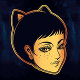Anime or retro manga style woman with cat ears. Royalty Free Stock Photo