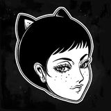 Anime or retro manga style woman with cat ears. Royalty Free Stock Photography