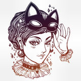 Anime or retro manga style woman with a cat mask. Stock Image
