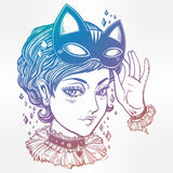 Anime or retro manga style woman with a cat mask. Royalty Free Stock Images