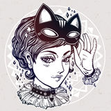 Anime or retro manga style woman with a cat mask. Stock Images