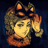Anime or retro manga style woman with a cat mask. Royalty Free Stock Photo