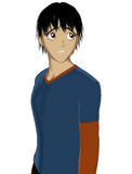 Anime sad Teenager. An upset male teenager in anime style Royalty Free Stock Photos