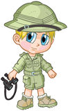 Anime Safari Boy Vector Cartoon. Vector cartoon clip art of a caucasian boy wearing a safari outfit, drawn in an anime or manga style. He is in a paper doll pose stock illustration
