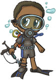 Anime Scuba Diver Boy Vector Cartoon. Vector cartoon clip art of an African American boy wearing a scuba suit, drawn in an anime or manga style. He is in a paper Stock Photography