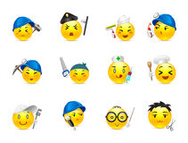 Anime smilies different professions. Smiley anime stickers of various professions gathered in a small set of Royalty Free Stock Photo