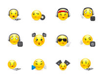 Anime smilies DJs. The most beautiful anime smiles yellow with music inventory Stock Images