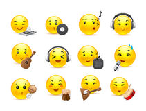 Anime smilies musical instruments. The most beautiful anime smiles yellow with musical instruments Royalty Free Stock Images