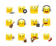 Anime smilies musical instruments. The most beautiful anime square smiles yellow with musical instruments Royalty Free Stock Image