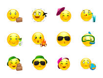 Anime smilies travelers. Funny and cute anime emoticons travelers with different things Stock Photography