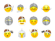 Anime smilies vikings and knights. Funny and cute anime emoticons Knights and Vikings yellow Royalty Free Stock Image