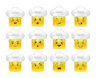 Anime square smileys in white caps. Beautiful happy anime square smiley yellow in white caps in a small set of Royalty Free Stock Photos