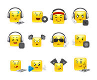 Anime square smilies DJs. The most beautiful anime square smiles yellow with music inventory Stock Photo