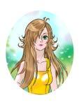 Anime stileerde mooi meisje Stock Afbeelding